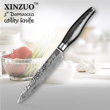 New XINZUO 5″ inch utility knife 73 layers Japanese Damascus kitchen knife fruit knife with Color wood handle free shipping