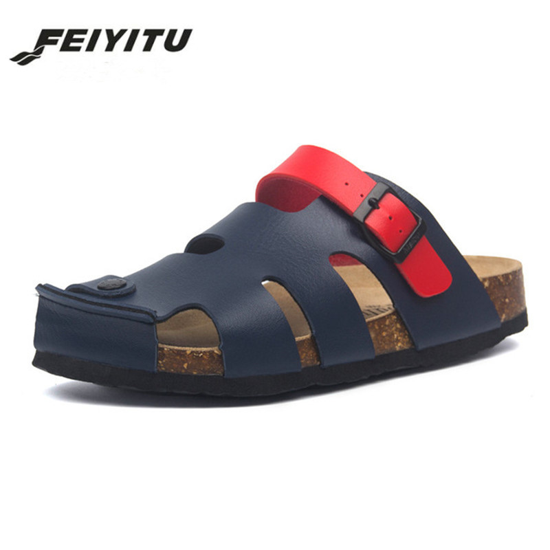 FeiYiTu 2019 New Summer Man Beach Cork Slippers Casual Men Buckle PU Leather Cut-outs Clogs Slides Slip On Shoes Plus 35-45