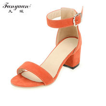Fanyuan Open Toe Sandals Women Shos Thick Med Heel Buckle Strap 2017 Summer Solid Girls Blue Black Soft Casual Sandals Plus Size