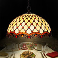 Clássico europeu Tiffany Lâmpada Pingente Breve Arte Contas de Vidro Luzes da Sala de estar do Restaurante Luzes Pingente Tiffany Manchado