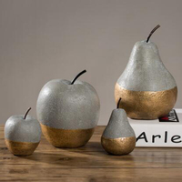 Soft decoration Home Furnishing creative imitation of apple pear fruit cement plant style decoration silicone mold