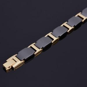 Image 3 - Gold Color Polished Stainless Steel Women Bracelets For Men Luxury Ceramic Health Care Energy Magnetic Man Bracelet Male Female