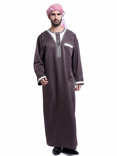 Muslim Men Gown Clothing Fashion Long Sleeve Robes Kaftan Muslim Arabic  Dubai Plus Size Embroidery Islamic Eid Abaya Jubba Thobe d9af3e808