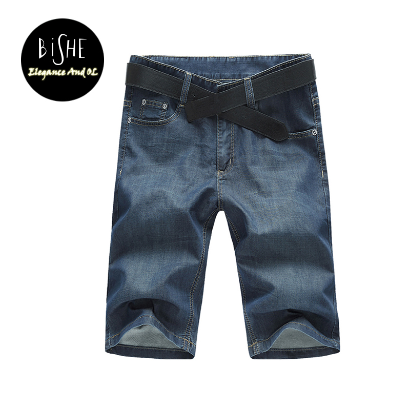 Summer Men Denim Shorts Knee Length Straight Pants Slim Fit Jean Homme Trousers Large Plus Size 34 36 38 40 42 44 46 48 50 52 2016 summer thin jeans men straight slim casual loose plus size trousers denim 28 42 full length