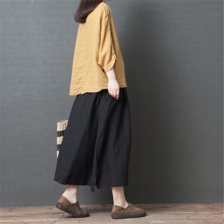 White Black Skirt Women Linen Midi Skirt Elegant Casual Loose Spring summer Skirt Female Large Size Women Clothes 2019 A5387