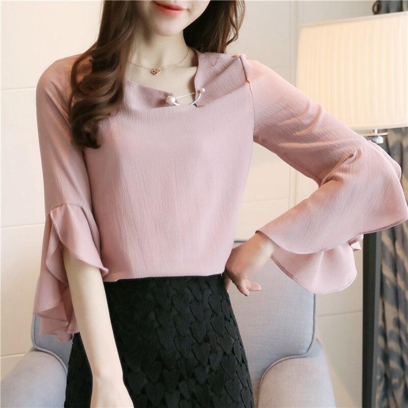 Nové módní dámské topy sping 2019 spadají tři čtvrtiny pevné bílé růžové šifonové volánky dámské blůzy O-krk košile blůzy 61H3