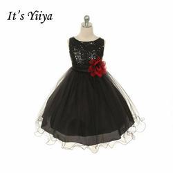 Это yiiya Мода побрякушки блестками для девочек в цветочек платья О-образным вырезом Принцесса бальное сладкий Однотонная одежда Платье для