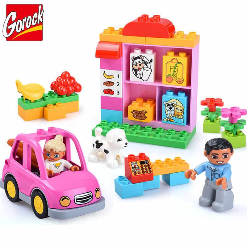 GOROCK Duploes Friends Pink City Girl Princess Figure Family House Colourful Kids Building Block Educational Baby Toys Gifts