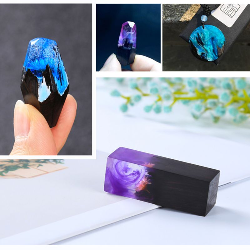 Epoxy Resin Craft Material Blood Sandalwood Art DIY Jewelry Making Necklace Pendant Landscape Decoration Crafts Handmade Gifts