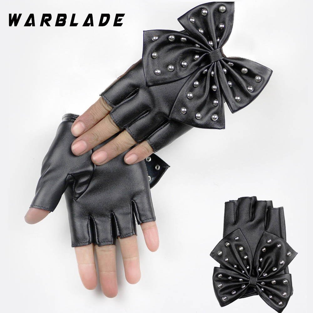WarBLade Women's Leather Gloves Black Fingerless Gloves PU Leather Big Bow Mittens Half Finger Ladies Luvas Dancing 2018