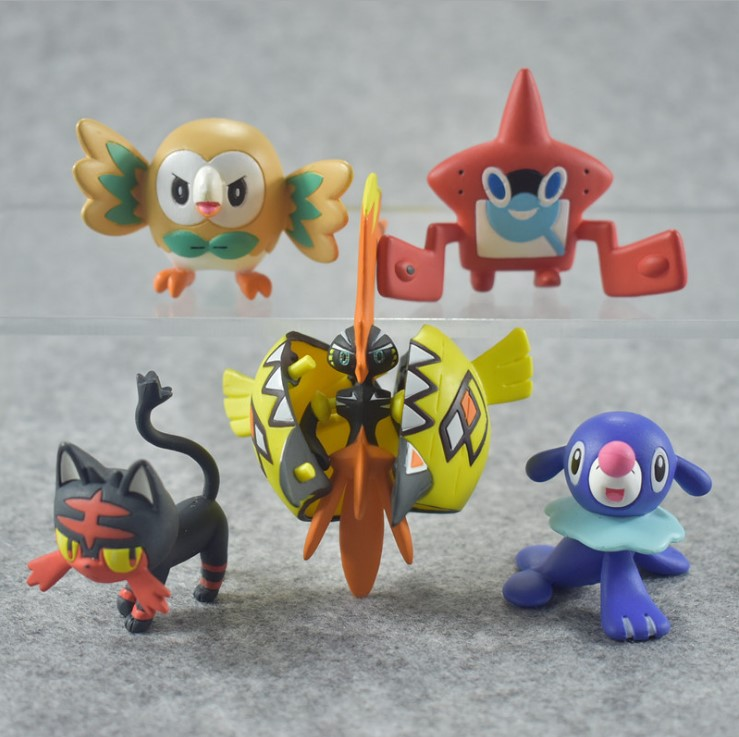 Popplio rowlet litten Anime action toy figures Collection model toy Car decoration toy KEN HU STORE pokemones lucario articuno mewtwo charizard pikachu anime cartoon action toy figures collection model toy car decoration toys pokemones