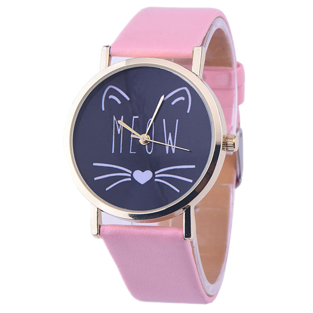 Relogio Feminino Vogue Cat Pattern Watches Women Fashion 2018 Ladies Casual PU Leather Band Analog Quartz Wrist Watch Reloj #Z pu leather band women s quartz analog wrist watch yellow