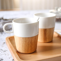 Japan Style Wood Bottom Ceramic Mugs Creative Home Use Milk Mugs Breakfast Cups Tableware Office Drinking Cups