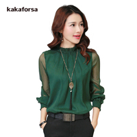 Kakaforsa Women Lace Chiffon Blouses Shirts Plus Size Long Sleeve Summer Tops Casual Black Ruffles Blouse Top blusas feminina