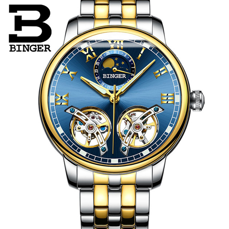BINGER New 2018 Mechanical Watches For Men Waterproof Double Tourbillon Automatic Skeleton Watch Men Luxury Relogio Masculino jam tangan pria gold original