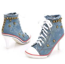 2016 New Fashion Casual Winter High Heels Lady Boots Women Pointed Toe Rivets Denim Short Boots