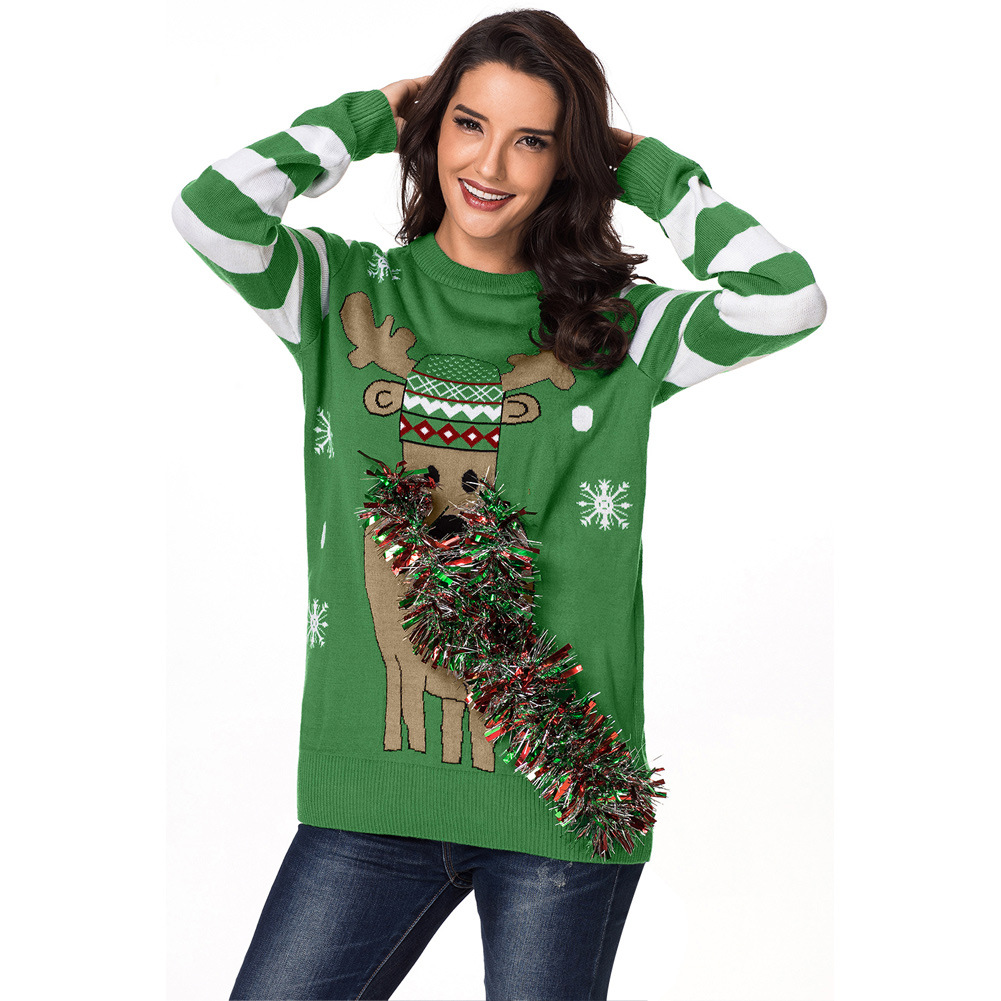 European and American new Christmas reindeer unique ribbon design round neck long-sleeved knit pullover sweater