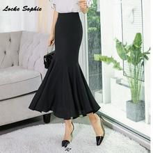 1pcs Hight waist skirts Womens Plus size mermaid 2019 Autumn Chiffon ruffles Fishtail Black skirt Ladies Skinny