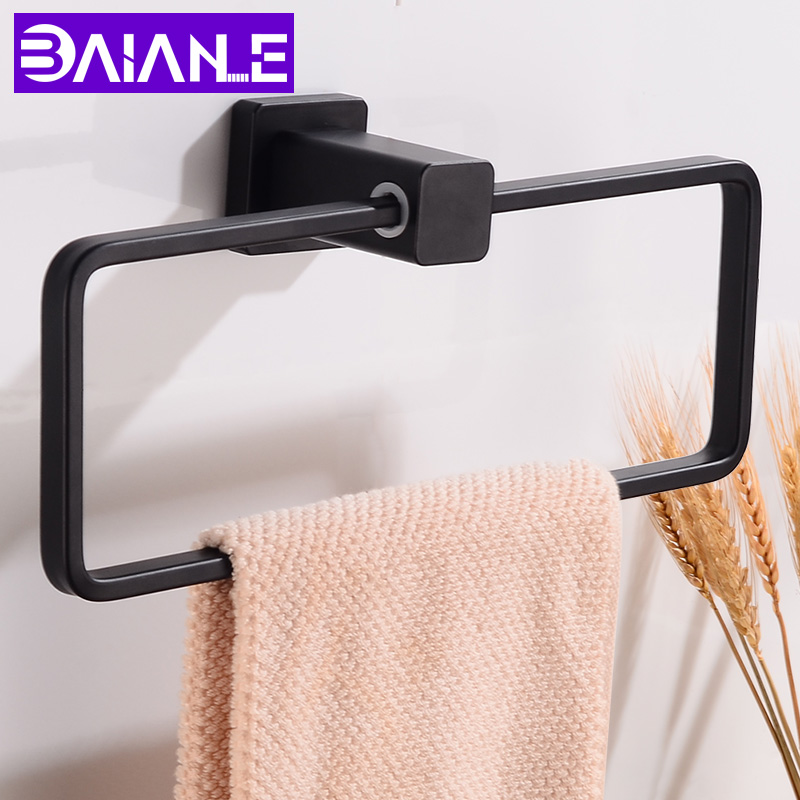 Towel Ring Holder Aluminum Single Towel Bar Black Bathroom Shelf Towel Rack Hanging Holder Wall Mounted Bathroom AccessoriesTowel Ring Holder Aluminum Single Towel Bar Black Bathroom Shelf Towel Rack Hanging Holder Wall Mounted Bathroom Accessories