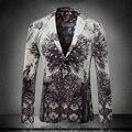 Новое прибытие европа и америка стиль мода черный павлин печати slim fit блейзер мужчины костюм homme мужская одежда/XF40-1