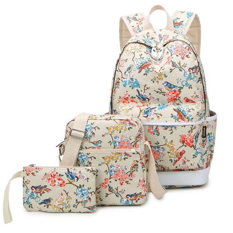 New Arrival Printting Backpack Flowers And Bird Canvas Backpacks Bag Pack College School Bags For Teenagers focal bird pack 5 1 super bird