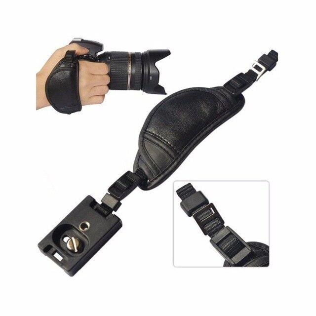 جلد طبيعي كاميرا الشريط اليد قبضة لسوني أوليمبوس باناسونيك كاميرا dslr المهنية الملحقات