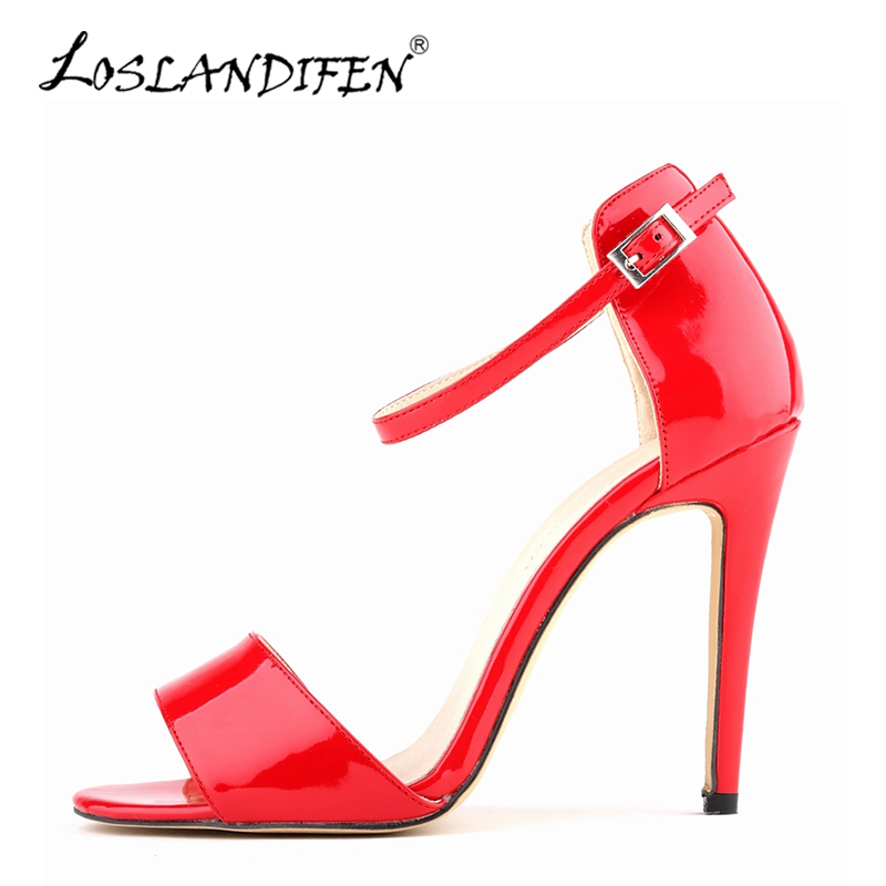 LOSLANDIFEN Ankle Strap Sandals Women Open Toe High Heels Shoes Summer Casual Nude Sandals Woman Red Wedding Party Shoes 102-2PA купить