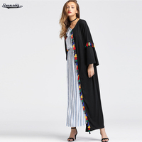 Swarlooke 2017 New Fashion Women Clothing Casual Open Sitch Solid Tassel Trend Lady Fall Long Jacket