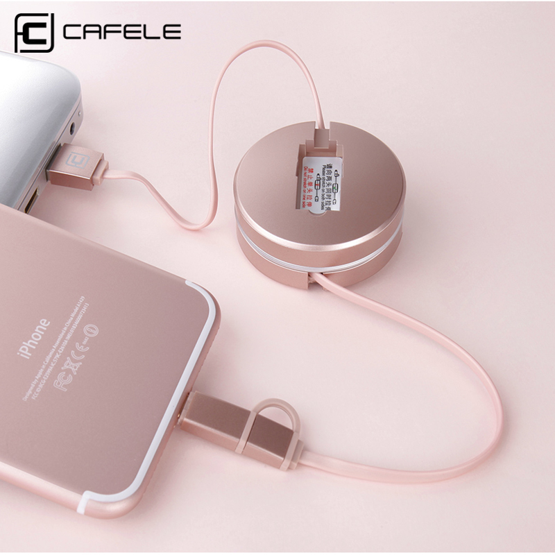Cafele 2in1 Retractable USB Cable for iPhone 5 and above 8 Pin Port + Android Micro USB Port Charging and Data Transfer
