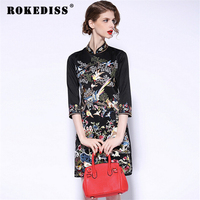 2017 Spring Heavy Birds Embroidery Cheongsam Dress Big Yards Collar National Wind High End Women S