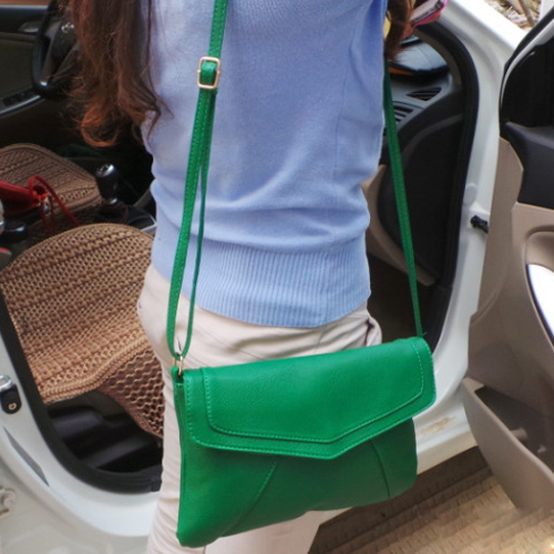 HOT Women's Envelope Bag PU Leather Messenger Bags Handbag Crossbody Bags  Bolsas Green