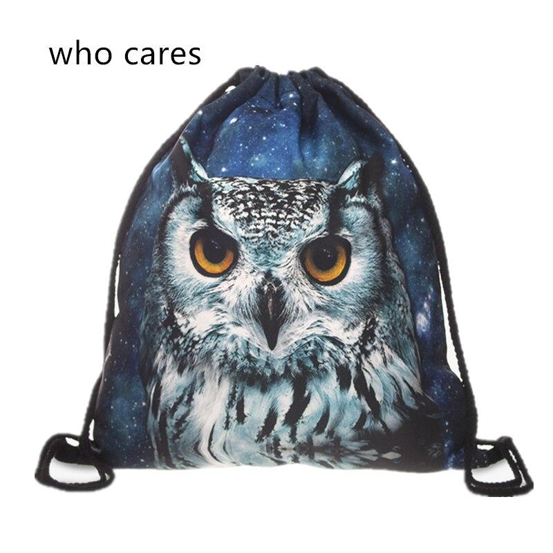Who Cares New Fashion Backpack Hot Sale Mochila Feminina Women 3D Print Owl daily Shopping Casual Drawstring Bag Girl