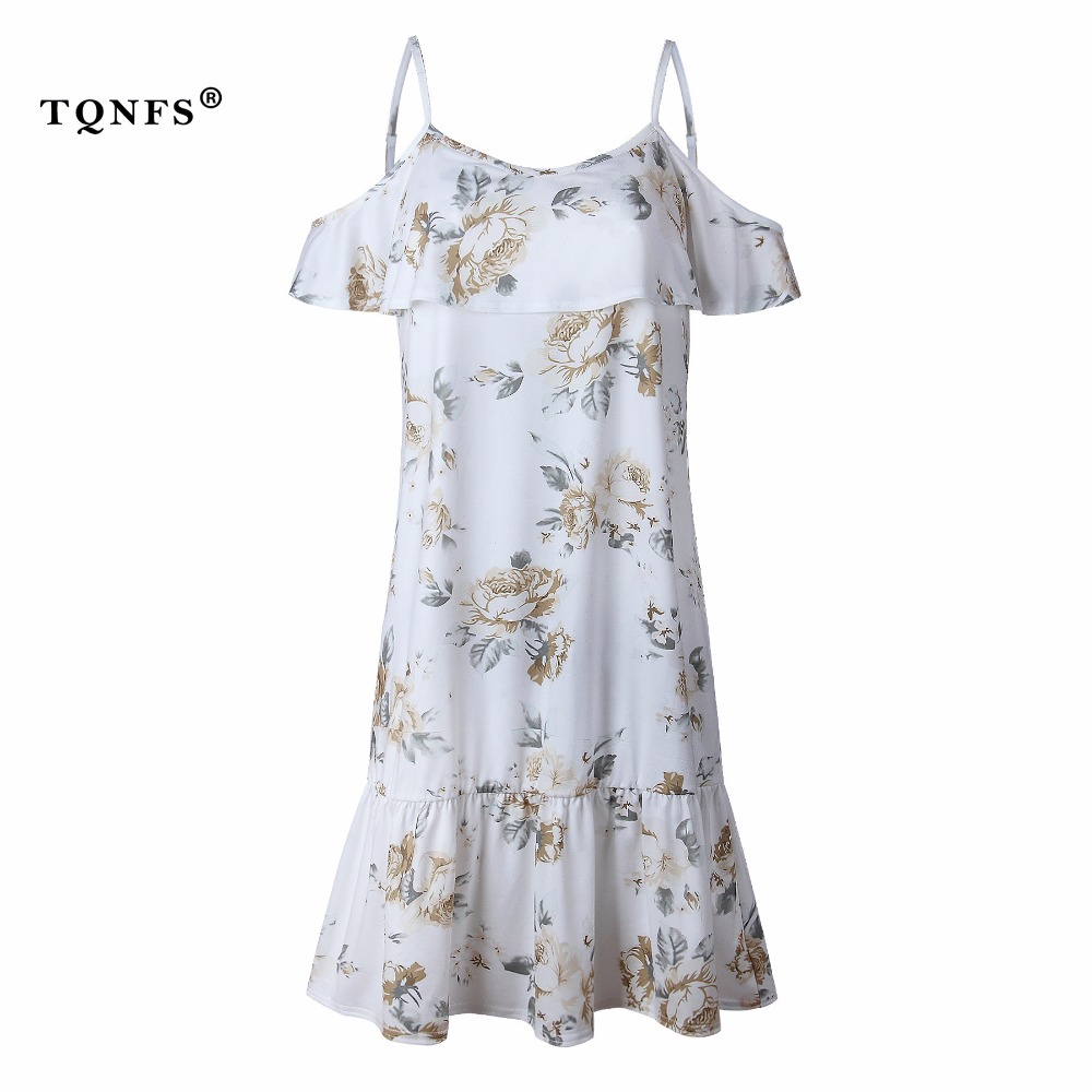 TQNFS Vintage Ruffle Print Beach Summer Dress Women Backless Sexy Dress Off Shoulder Flower Dress Vestidos Women Clothes