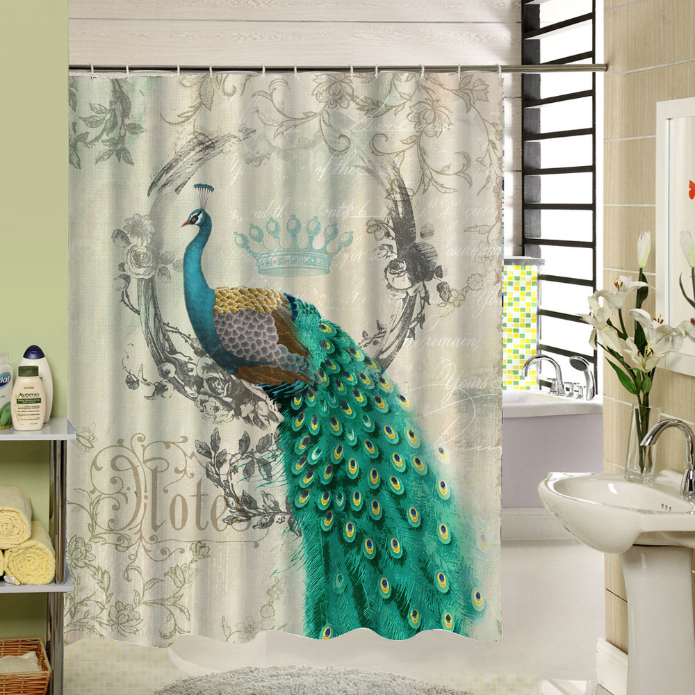vintage shower curtains colorfulful peacock retro custom 3d shower curtain 29059