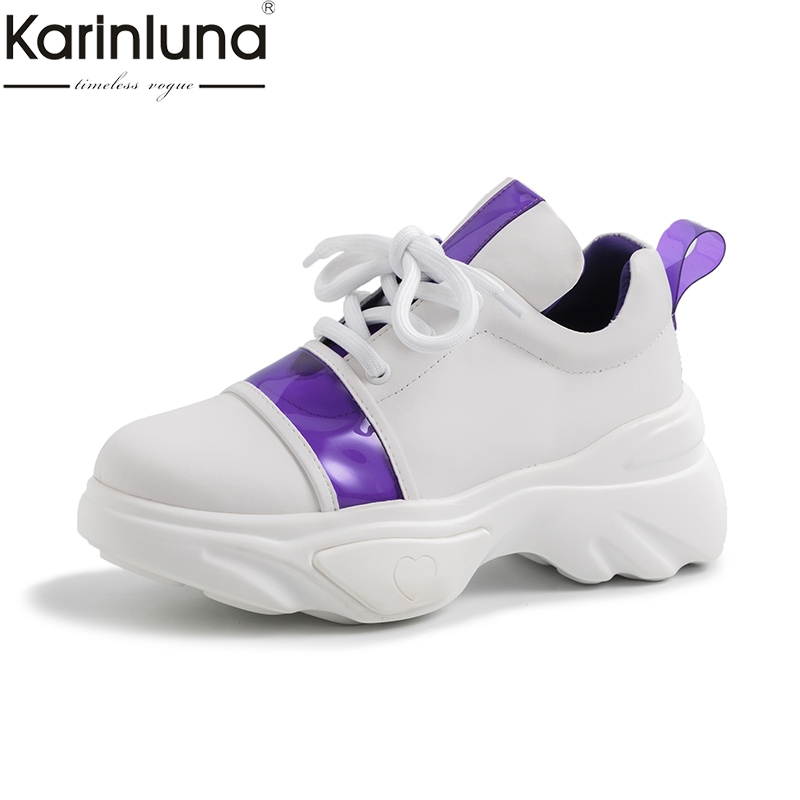 Karinluna fashion genuine leather high quality large size 35 42 lace up summer chunky sneakers shoes