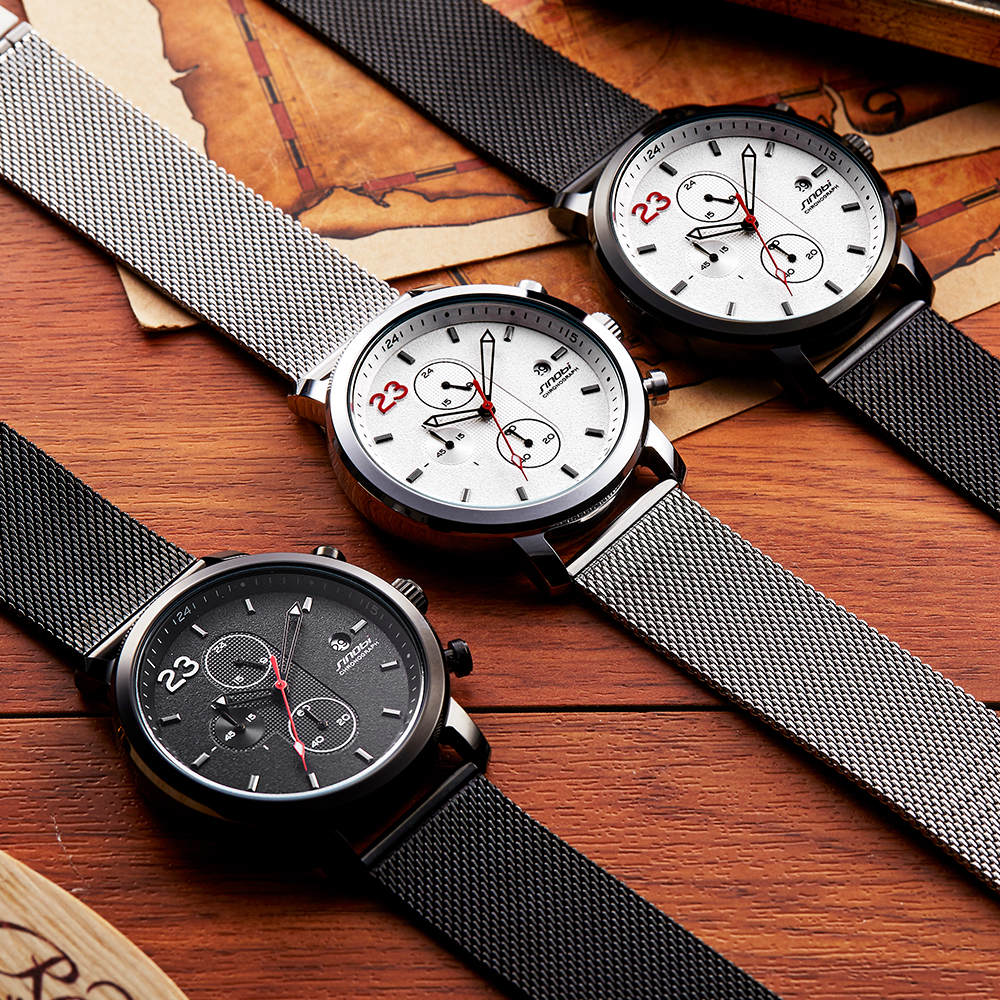 SINOBI Chronograph Casual Herreure Tre Farver Fritid Rustfrit Stål - Mænds ure - Foto 6