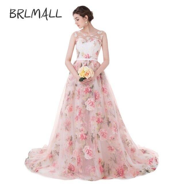 BRLMALL frauen Blumenmuster Organza Blumen Ballkleid Prom Kleider ...