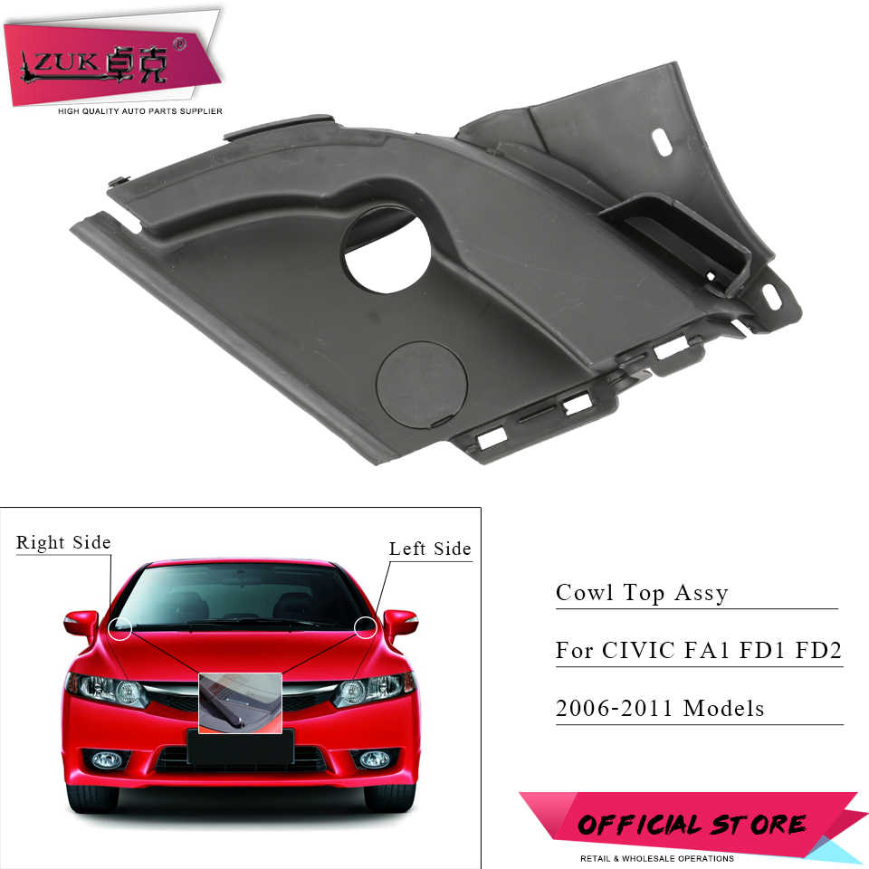 ZUK Engine Hood Cowl Top Hinge Cover Water Guide Plate Panel Garnish For HONDA CIVIC 2006 2007 2008 2009 2010 2011 FA1 FD1 FD2