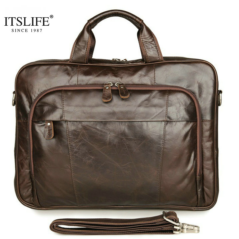 New Itslife Classic Vintage Genuine Leather Men's Handbag Tiny 15