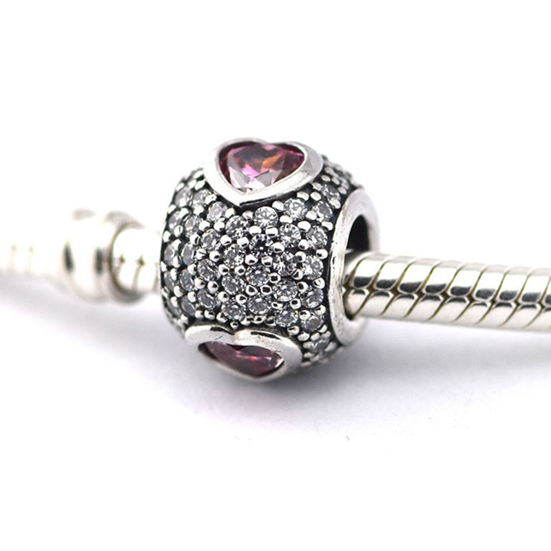 NEW Genuine Sterling Silver SS 925 Springtime Pink CZ Rose Green Pave Ball Charm