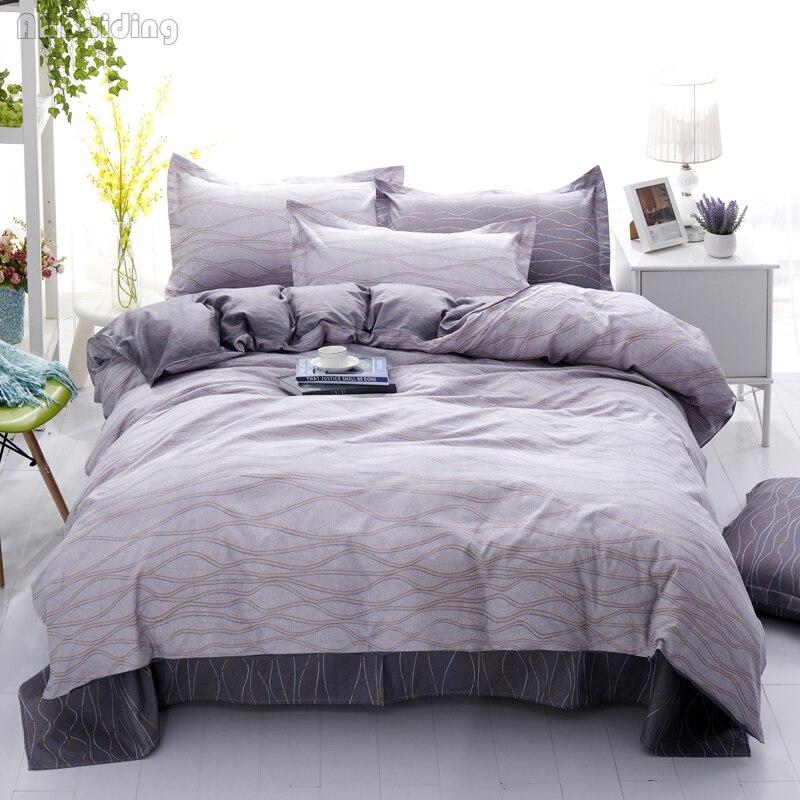 Simple Style Purple Ripple Bedding Set Plaid Stripes Bed Linen 3/4pcs Cotton Bedclothes Include Duvet Cover Bed Sheet Pillowcase