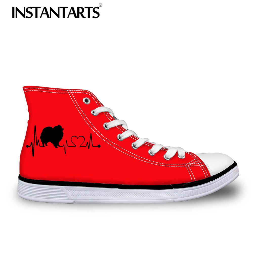 INSTANTARTS Female Shoes 3D Cute Pomeranian Dog Print Women 's Vulcanize Shoes Heartbeat Dog High Top Canvas Shoes Woman Sneaker