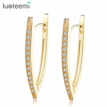 LUOTEEMI AAA Cubic Zircon Irregular Geometric Shape Tembaga Hoop Earrings Untuk Wanita Sederhana Desain Warna Emas Vintage Earrings