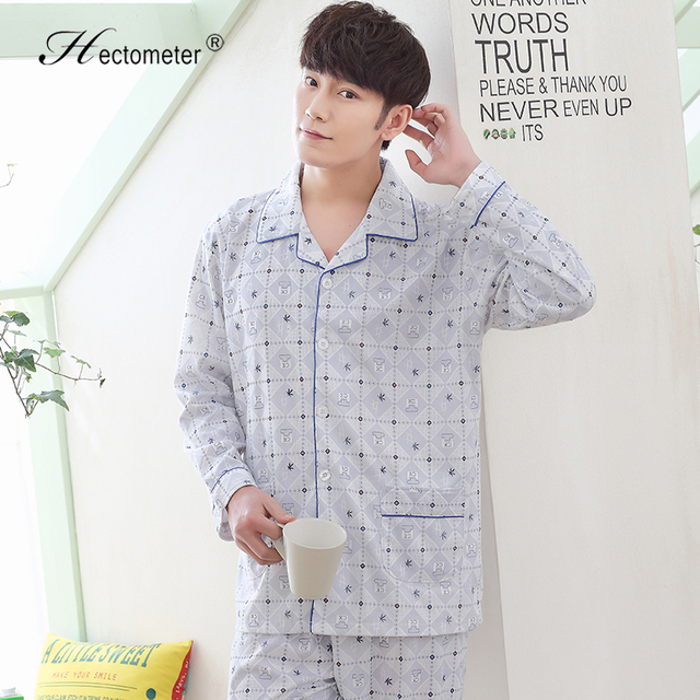 2017-Men 's cotton long - sleeved simple shirt checked plaid cotton quality home pajamas R213