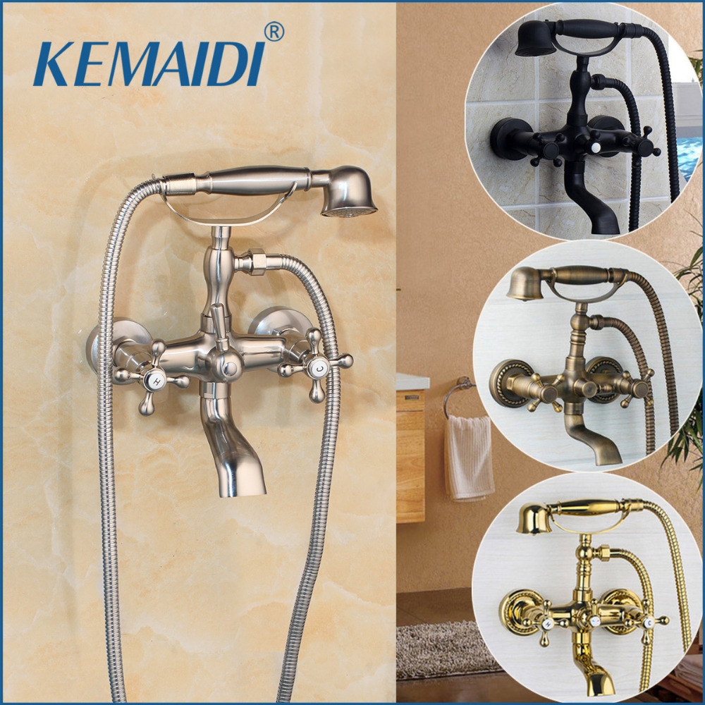 KEMAIDI Antique Brass Wall Mounted Mixer Tap 2 Functions Double Handles Bathroom Bathtub Shower Faucet Set