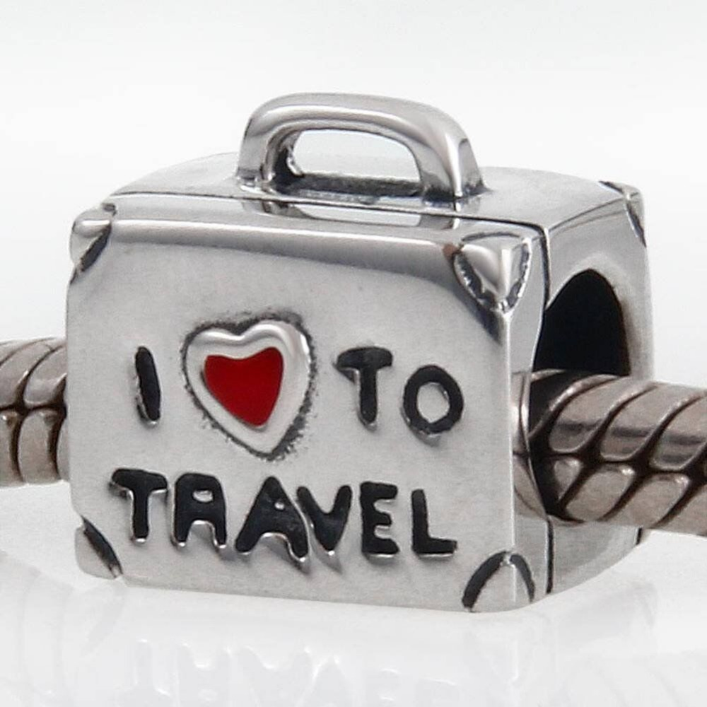 I Love to Travel Case Charms Authentic 925 Sterling Silver Read Heart Suitcase Beads fit Pandora Charms bracelets