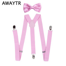 2 PCS/Lot AWAYTR Bow Ties Suspenders Boy Suspensorio Pink Color Straps With 3 Clips for Children Wedding Clothing Accessories