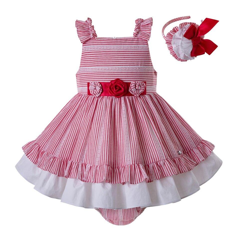 Pettigirl Red Stripe Summer Beach Dress Pleated Collar Kids Dress Wholesale Children Clothing G DMCS203 C153