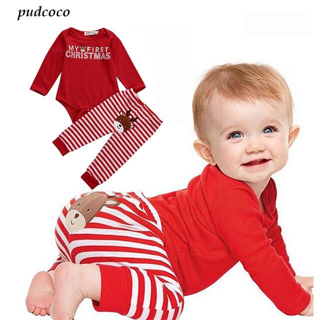 b882de4b0 2 Pcs Christmas Newborn Baby Boy Girl Clothes Babies Letter Bodysuit  Onesie+ Stripe Deer Pants Outfit