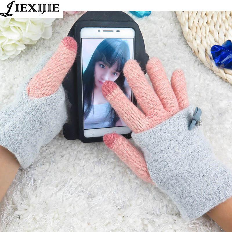 2016 разнообразные цвета женские зимние теплые перчатки интеллектуального сенсорного экр ...
